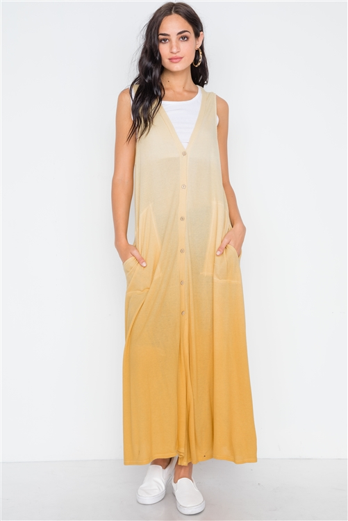 Mustard Ombre Sleeveless Knit Maxi Cardigan Dress