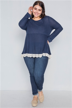 Navy Cream Plus Size Scallop Long Sleeve Top