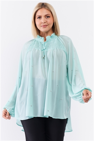 Mint Elastic High Neck Sheer Chiffon Plus Size Blouse