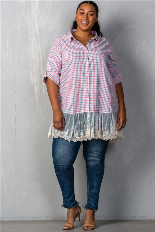 Pink Sky Long Sleeve Gingham Lace-Hem Plus Size Top