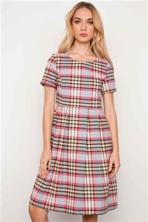 Multi Pink Plaid Short Sleeve Boho Dress