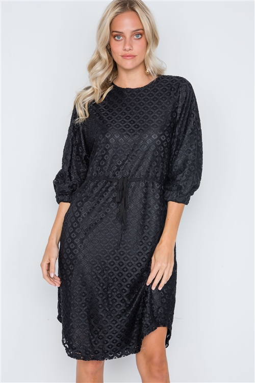 Black 3/4 Sleeve Patterned Lace Shift Dress