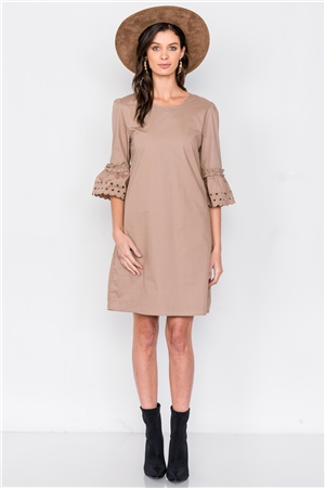 Taupe Scallop Eyelet Trim 3/4 Sleeve Vintage Mini Shift Dress