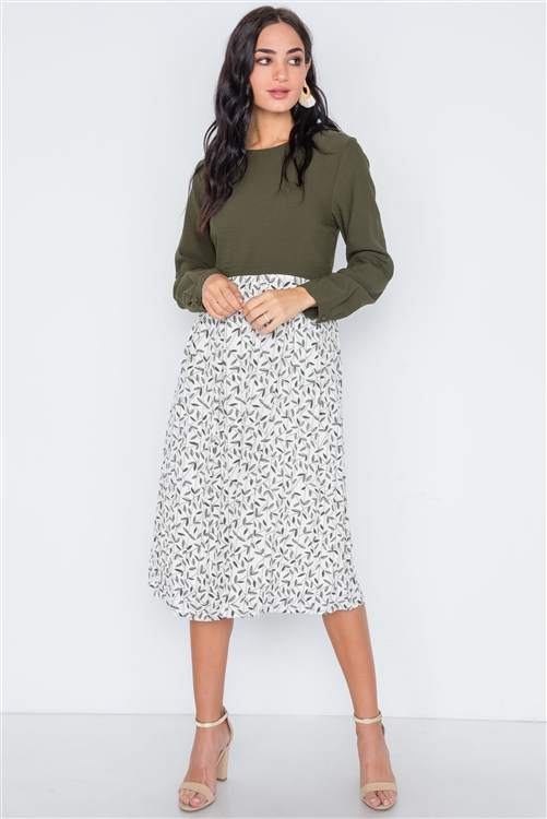 Olive Combo Long Sleeve Leaf Print Midi Shift Dress