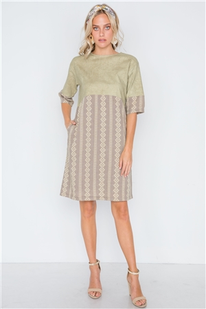 Mocha Olive Contrast Design Shift Boho Dress
