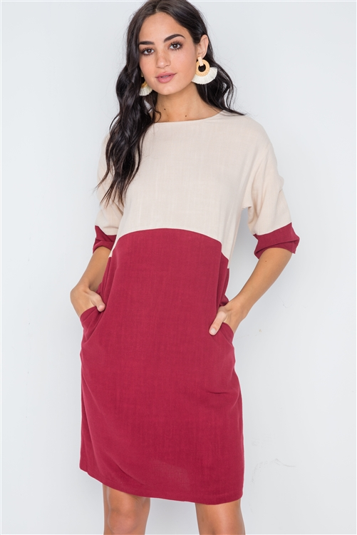 Dark Brick 3/4 Sleeve Contrast Shift Boho Dress