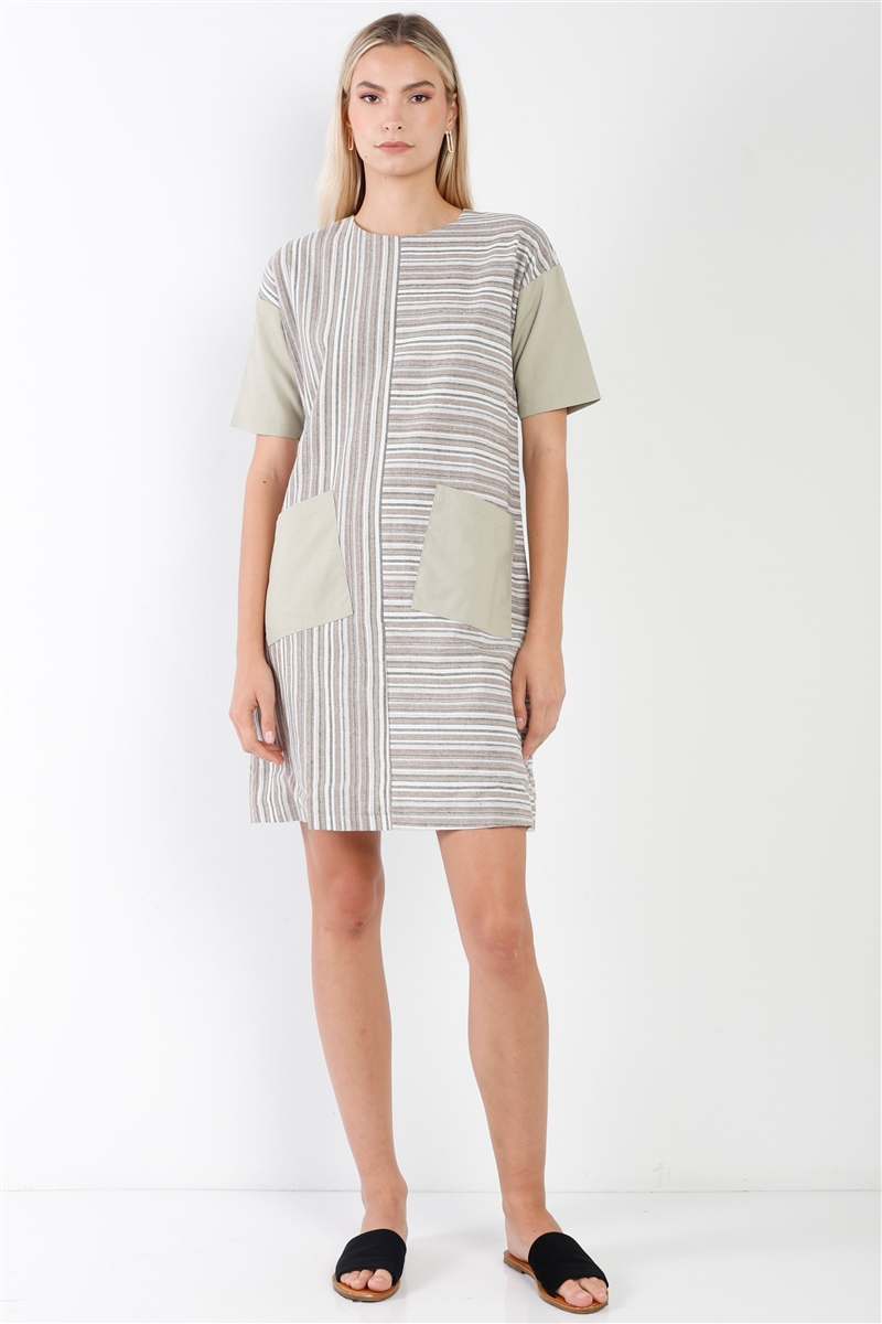 Taupe Combo Stripe Short Sleeve Shift Boho Dress