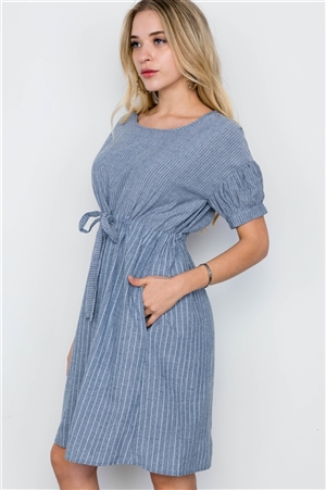 Blue Stripe Short Sleeve Boho Midi  Dress /4-2