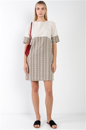Brown Contrast Design Round Neck Shift Boho Dress