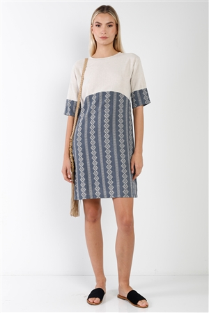 Navy Contrast Design Round Neck Shift Boho Dress