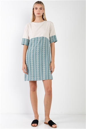 Sage Contrast Design Round Neck Shift Boho Dress