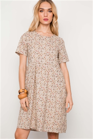 Oatmeal Floral Print Short Sleeve Boho Dress