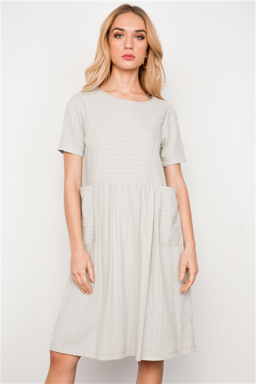 Sage Short Sleeve Round Neck Midi Dress