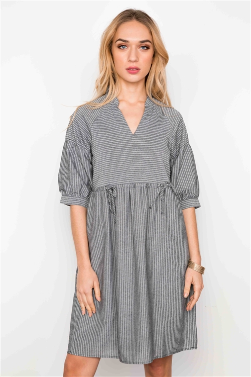 Black Striped Short Sleeve V-Neck Boho Dress