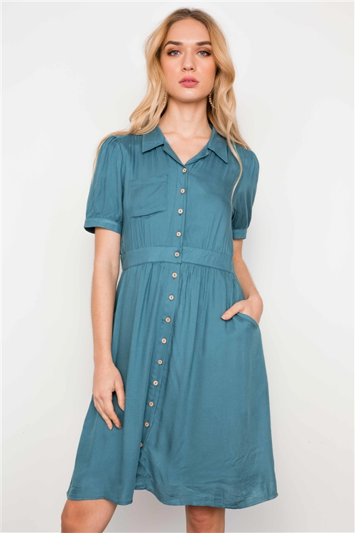 Blue Short Sleeve Round Neck Midi Dress