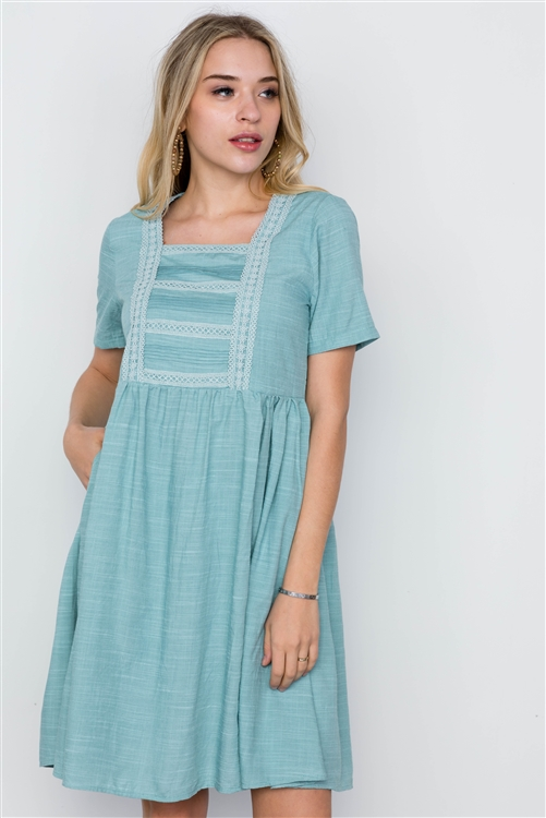 Blue Turquoise Boho Short Sleeve Dress