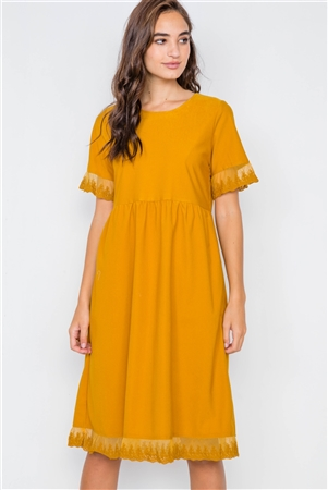 Mustard Relaxed Fit Sheer Lace Trim Midi Dress