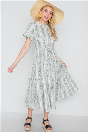 Sage Floral Shirred Short Sleeve Midi Dress