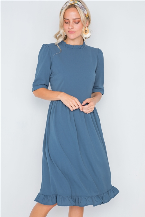 Blue Ruffle-Mock Neck Shirred Solid Dress