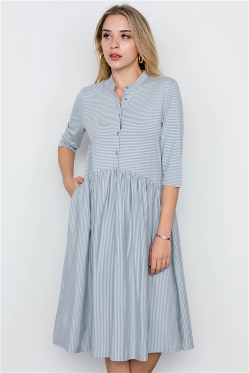 Blue Striped 3/4 Sleeves Midi Boho Dress