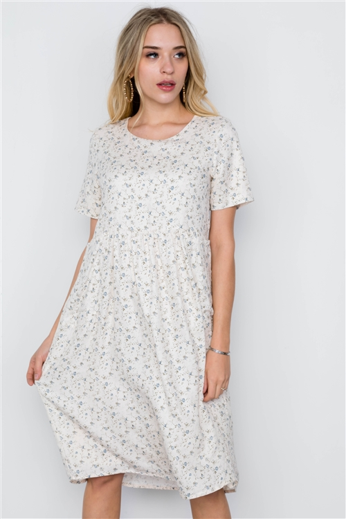 Ivory Short Sleeve Floral Print Boho Dress