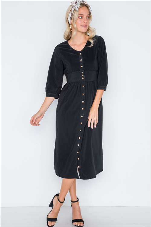 Black Corduroy 3/4 Sleeve Button Down Midi Dress