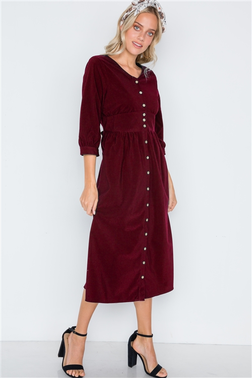 Burgundy Corduroy 3/4 Sleeve Button Down Midi Dress