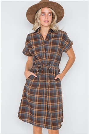 Multi Blue Plaid Short Sleeve Button Down Dres