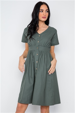 Olive Button Down Solid Boho Midi Dress