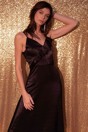 Black Satin Flounce Trim V-Neck A-Line Midi Chic Dress