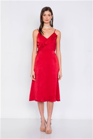Red Satin Flounce Trim V-Neck A-Line Midi Chic Dress
