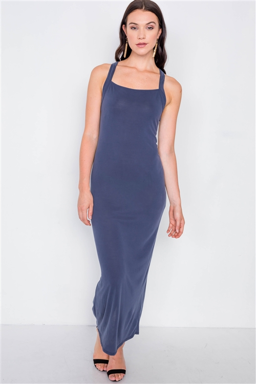 Navy Cross Back Solid Casual Maxi Dress /1-2-1