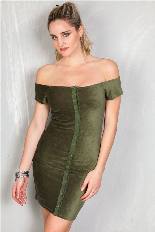 Olive Sexy Rib Knit Off The Shoulder Button Down Mini Velvet Dress /2-2-2