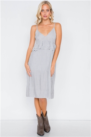 Grey & White Stripe Flounce Waist Trim V-Neck Mini Dress