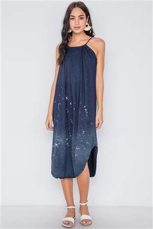 Navy Bleach Dye Loose Fit Cani Midi Dress