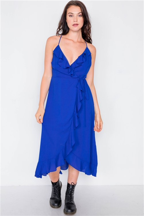 Royal Blue Flounce Cami Solid Midi Wrap Dress