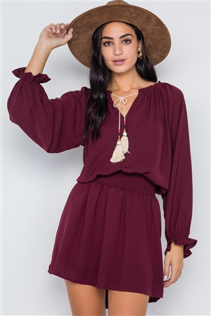 Burgundy Solid Tassel Long Sleeve Mini Dress