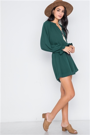 Hunter Green Solid Tassel Long Sleeve Mini Dress