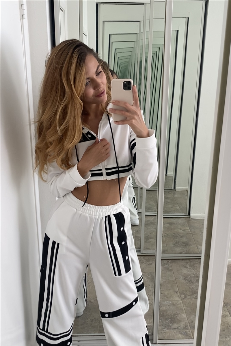 White Knit Colorblock Crop Sweater Pant Set