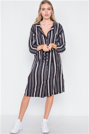 Black Stripe 3/4 Sleeve Button Down Shirt Dress