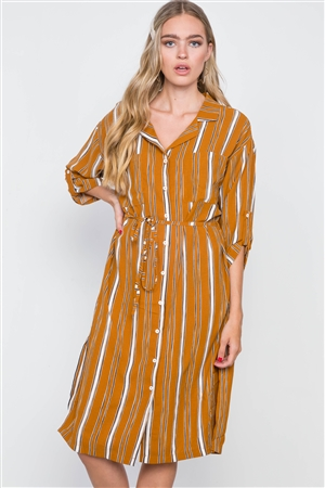 Mustard Stripe 3/4 Sleeve Button Down Shirt Dress