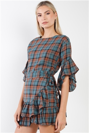 Blue Plaid Shirred Hem Front-Tie Mini Dress
