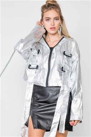 Silver Cropped Lightweight Long Sleeve Jacket