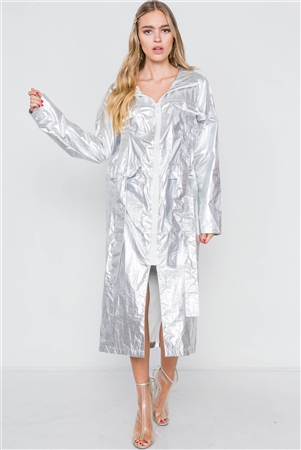 Silver Metallic Lightweight Zip-Up Jacket