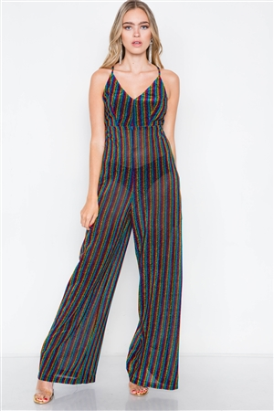 Multi Stripe Wide Leg Cami V-Neck Jumpsuit