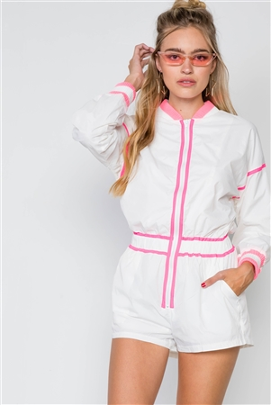 White Pink Windbreaker Colorblock Romper
