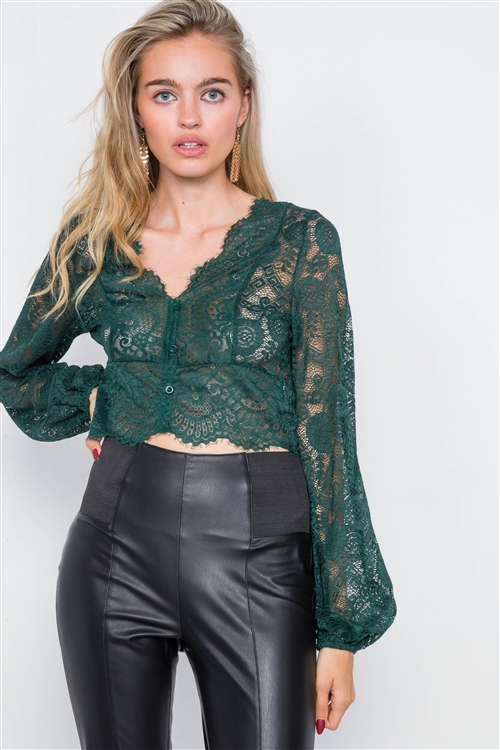 Heather Green Lace Scallop Hem Bell Sleeve Crop Top
