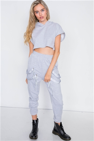 Grey Crop Hoodie Zipper Cargo Sweat Pant Set