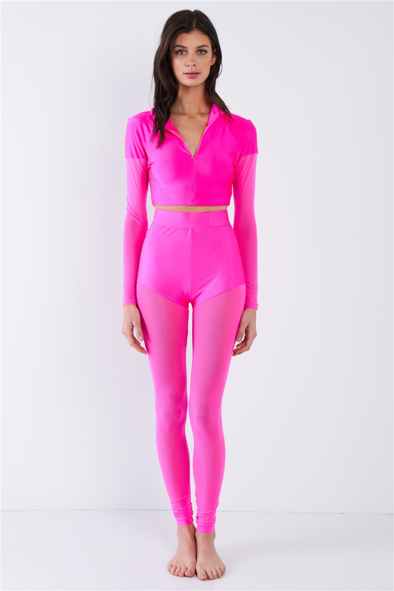 Hot Pink Neon Sheer Color Block Mock Neck Top & Ankle Legging Set