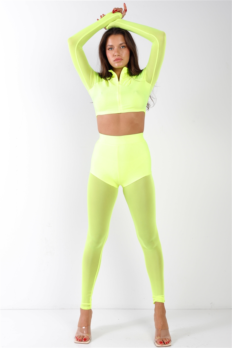 Neon Lime Green Sheer Color Block Mock Neck Top & Ankle Legging Set